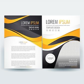 Business broschüre vorlage mit gelben und schwarzen wellenförmigen formen