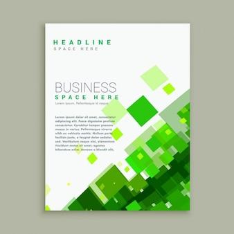 Business-broschüre vorlage mit leuchtend grünen mosaik formen