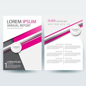 Business broschüre vorlage mit rosa und grau geometrischen formen