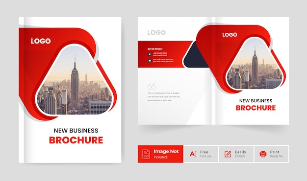 Business-broschüren-designvorlage minimales rotes farbthema firmenprofil-deckblattpräsentation