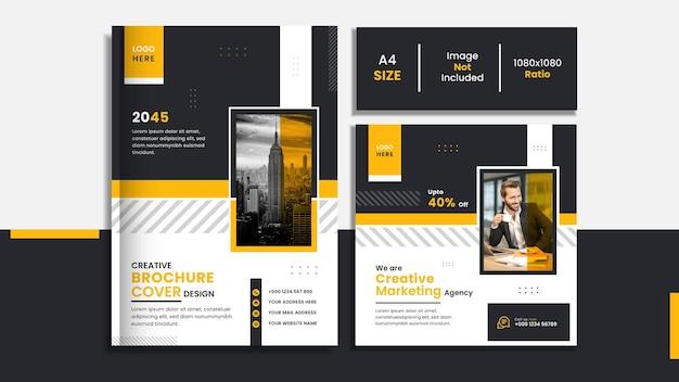 Business-buch-cover und social-media-post-set-design mit gelben und schwarzen abstrakten formen.
