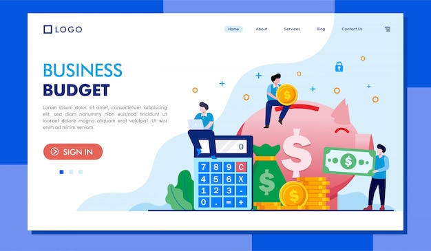 Business budget landing page illustrationsvorlage