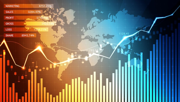 Business candle-stick-diagramm big data analyse visualisierung daten info grafik bullish point