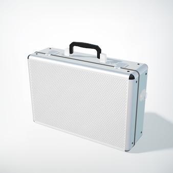 Business case-konzept aus geschlossenem metall mit schwarzem griff in realistischem stil auf weiß isoliert