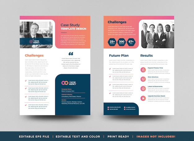Business case study design oder marketing sheet document design