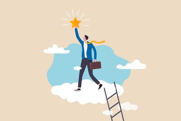 Business-champion gelingt es, eine belohnung zu erhalten, einen star-mitarbeiter, einen karriereweg oder ein traumjob-konzept zu gewinnen, ein erfolgsgeschäftsmann klettert die leiter in die cloud hinauf, um einen wertvollen stern zu erreichen und zu greifen.