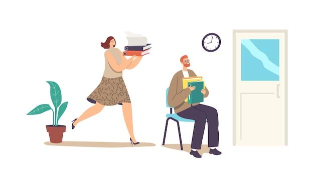 Business characters buchhaltungsbürokratie, papierkram-konzept. managerjob, sekretariatsberuf