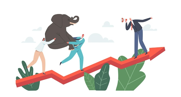 Business characters power team holding elephant on hands klettern wachsendes pfeildiagramm, unternehmensherausforderung, finanzerfolg, karrierewachstum, kooperationspartnerschaft. cartoon-menschen-vektor-illustration