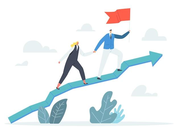 Business characters team holding hands und red flag klettern wachsendes pfeildiagramm, unternehmensführung, finanzieller erfolg, karrierewachstum, kooperationspartnerschaft. cartoon-menschen-vektor-illustration