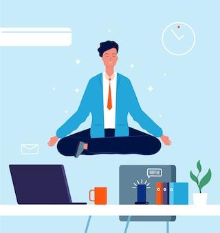 Business charakter yoga. manager, der auf bürotisch im lotus sitzt, stellen stress bei der arbeit geschäftskonzeptvektorbilder dar. büro charakter lotus, mitarbeiter arbeiter illustration