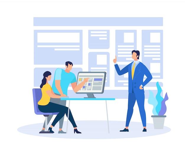 Business coach demonstriert das lernen von informationen