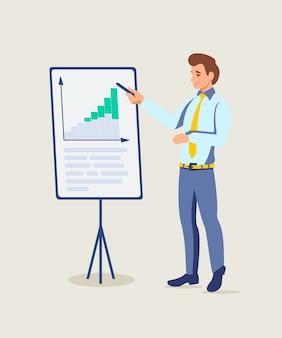 Business coach präsentation, mann erklärt diagramme und diagramme auf whiteboard