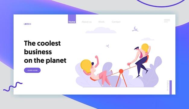 Business competition concept landing page set