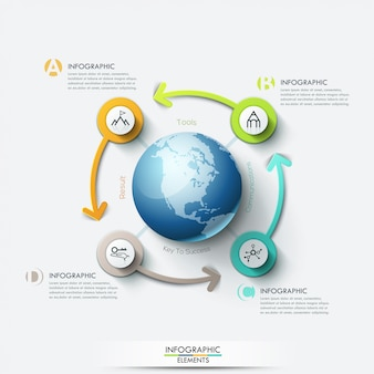 Business-computernetzwerk. globale geschäftsvorlage mit pfeilen