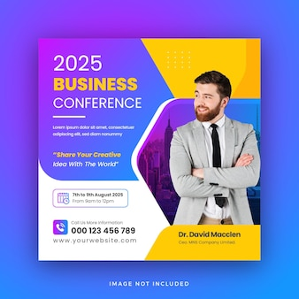 Business conference social media post square web banner template design