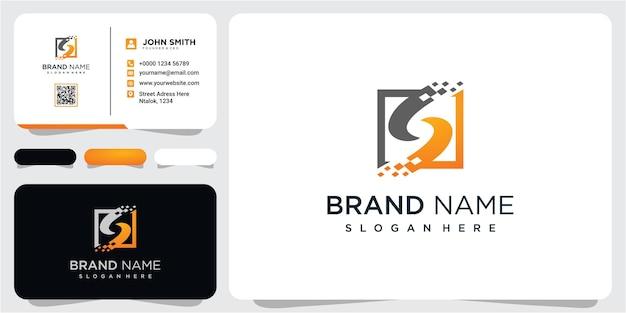 Business corporate letter s logo design vektor. einfaches und sauberes flaches design des logovektors des buchstaben s mit visitenkarte