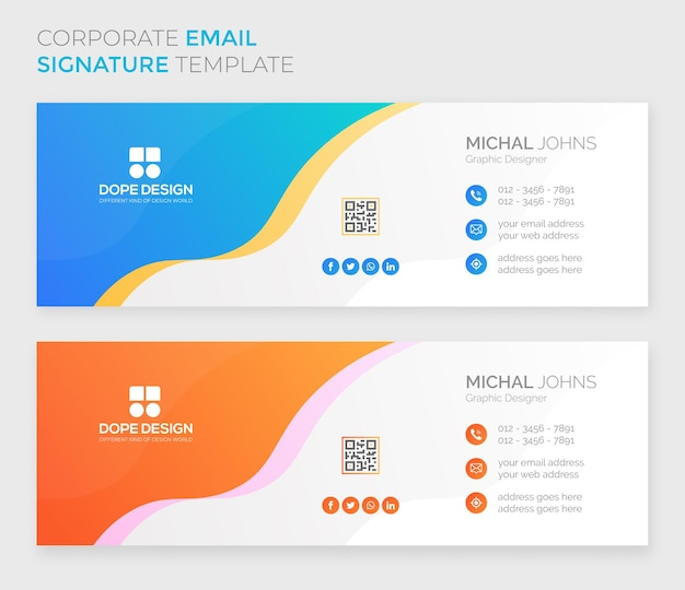 Business corporate professionelles modernes e-mail-signaturdesign premium-vektor