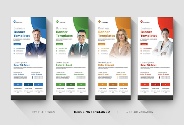 Business corporate rollup banner mit farbvariation