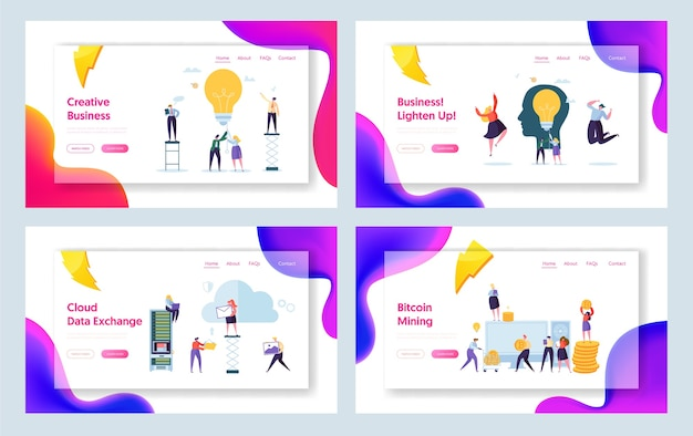 Business creative idea character concept landing page set. bitcoin cryptocurrency success people teamwork. startup communication management für website oder webseite. flache karikatur-vektor-illustration