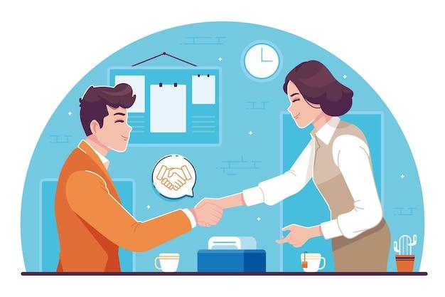 Business deal concept flache design illustration
