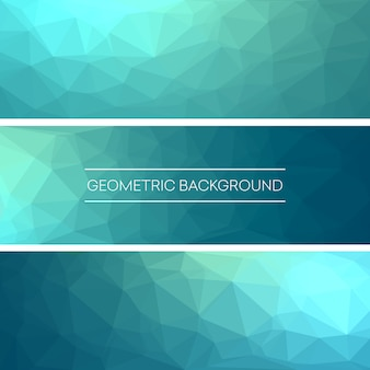 Business-design-vorlagen. satz fahnen mit polygonalen mosaik-hintergründen. g