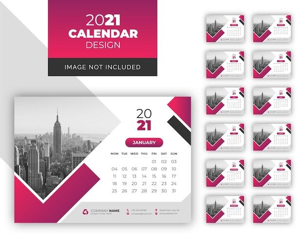 Business desk kalender design vorlage 2021 Premium Vektoren