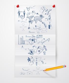 Business-doodle-papier blatt