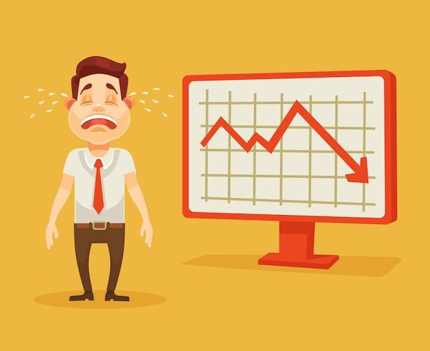 Business-fail-grafik nach unten weinender geschäftsmann