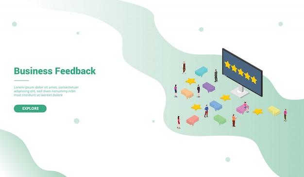 Business-feedback-vorlage mit sternebewertung im modernen isometrischen stil für die website-landing-homepage-vorlage -