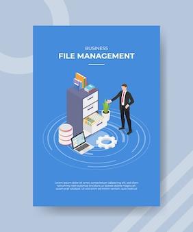 Business file management männer stehen vorne dokument datei speicher laptop ausrüstung einstellung für vorlage flyer