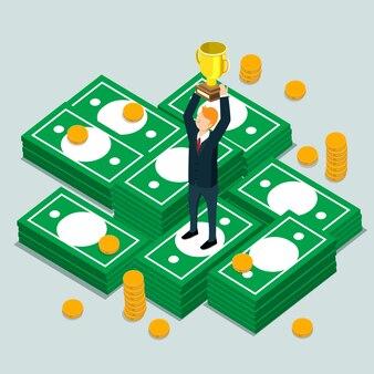 Business-finance-gewinner mit isometrischen