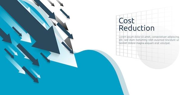 Business-finance-krise-konzept. pfeil senkt die wirtschaftlichkeit kostenreduzierung. verlust von einkommen.