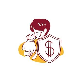 Business finance mann sparen schützen schild geld in beutel symbol abbildung umriss handgezeichnete stil