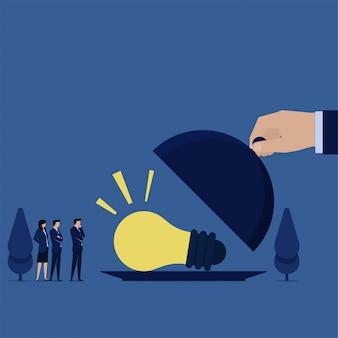 Business flache hand offen servierteller und es gab eine idee für das team mit der idee.