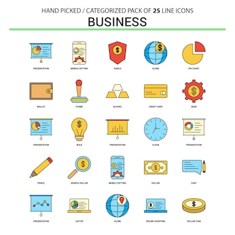 Business-flache linie icon-set