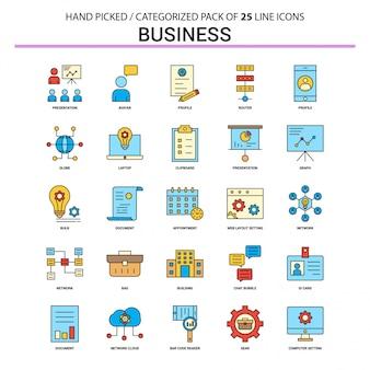 Business flat line icon set