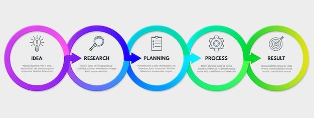 Business-flussdiagramm-präsentation workflow-prozessschritte infografik vorlage isoliert vektor