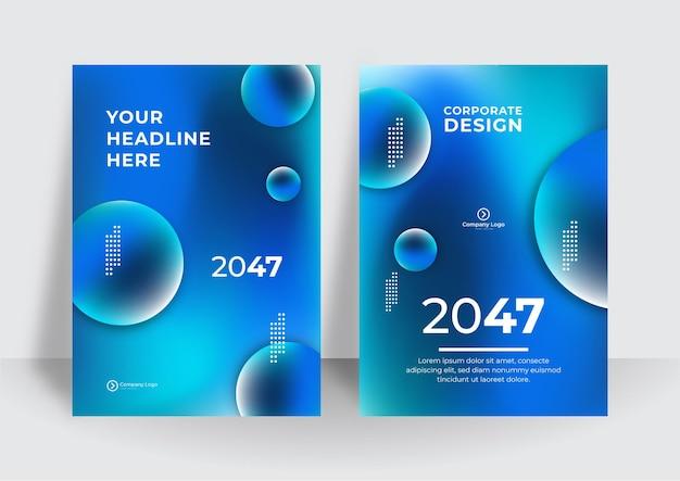 Business-flyer-layout-vorlage im a4-format. modernes broschürenschablonen-cover-design, jahresbericht mit blauen geometrischen und wellenförmigen linien für die geschäftsförderung auf weißem hintergrund, vektorillustration