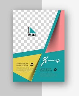 Business-flyer mit platz für bild und logo.