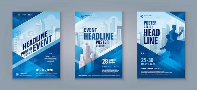 Business flyer set. layoutvorlage, abstraktes blaues geometrisches dreieck
