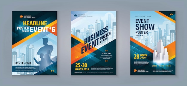 Business flyer set. layoutvorlage, abstraktes rotes und blaues geometrisches dreieck