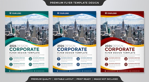 Business flyer template design mit abstraktem und modernem stil