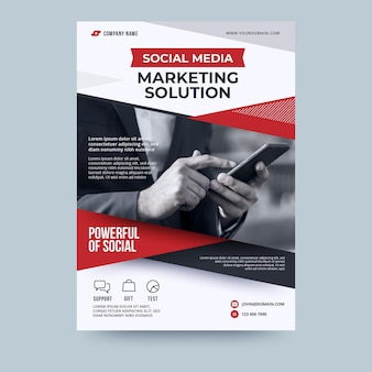 Business flyer vorlage für social media marketing lösung
