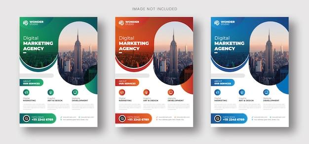 Business-flyer-vorlage mit farbverlauf