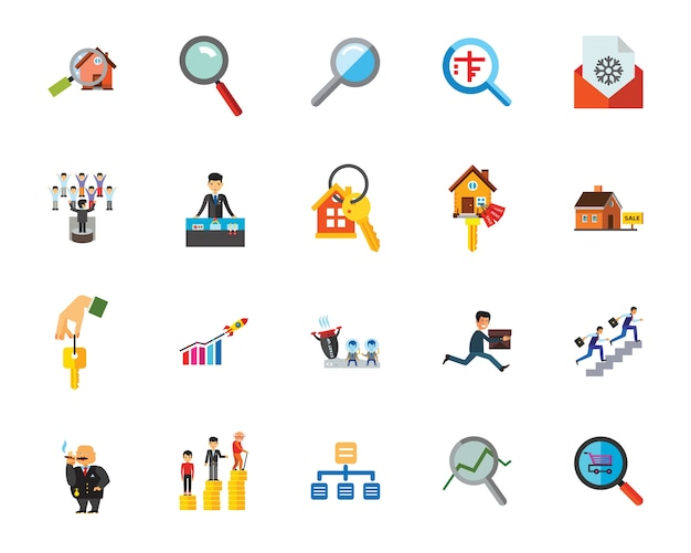 Business-forschung-icon-set