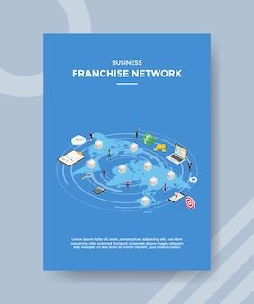 Business franchise netzwerk flyer vorlage