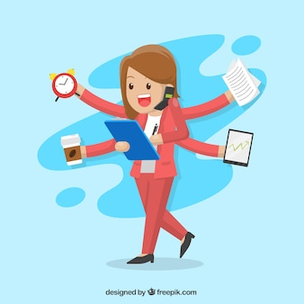 Business-frau multitask zeichen
