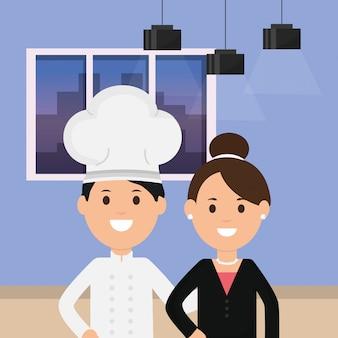 Business-frau und küchenchef zimmer deckenleuchten und fenster illustration