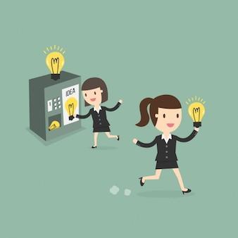 Business-frauen mit einem ideenmaschine