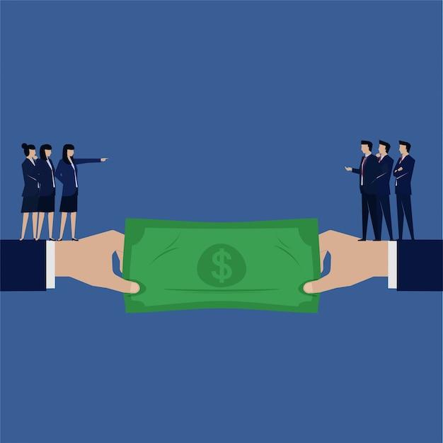 Business-gender-fragen ziehen geld zwischen mann und frau.